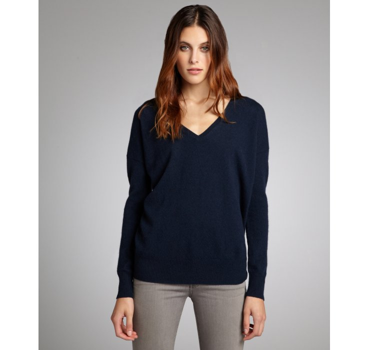 Autumn cashmere Navy Cashmere V-neck Boyfriend Sweater in Blue | Lyst