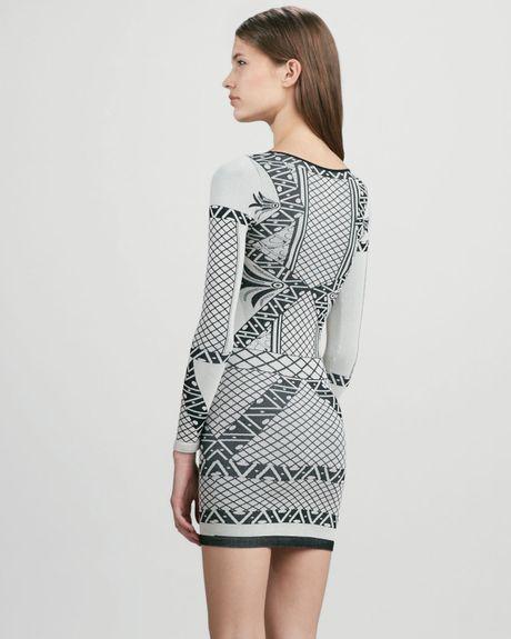 Free People Longsleeve Printed Angles Dress In Gray Multi
