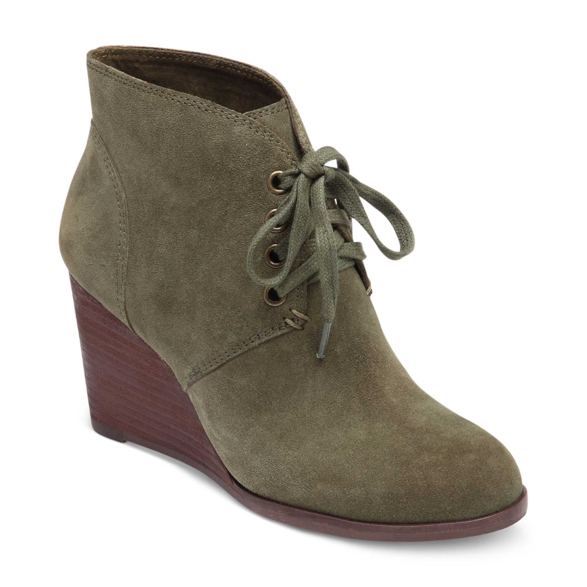 Lucky Brand Swayze Wedge Booties In Green Olive Lyst