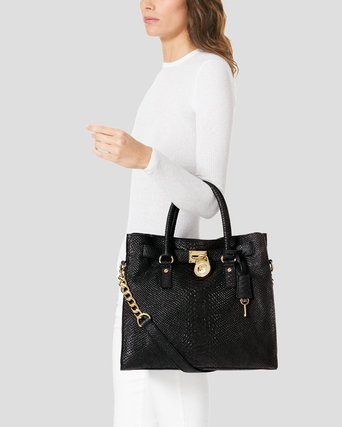 2a59b328b6cc Lyst - MICHAEL Michael Kors Tote Hamilton Large North South in Black