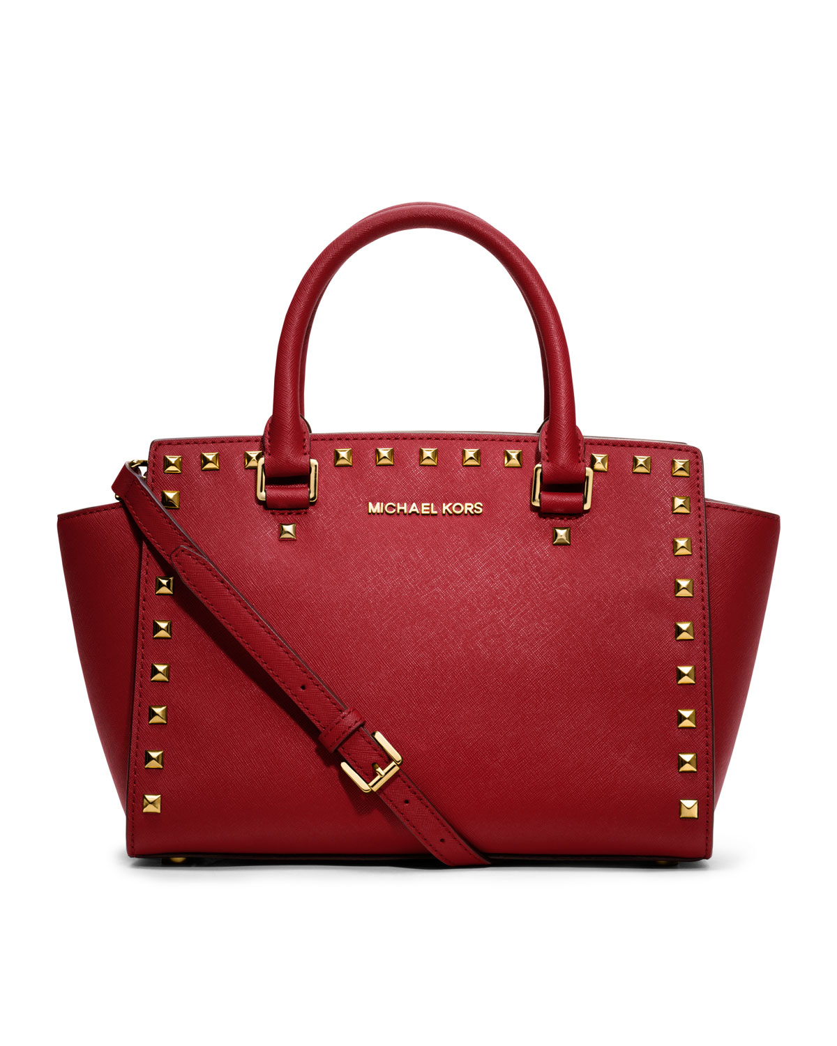 michael michael kors medium selma studded satchel in red lyst. Black Bedroom Furniture Sets. Home Design Ideas