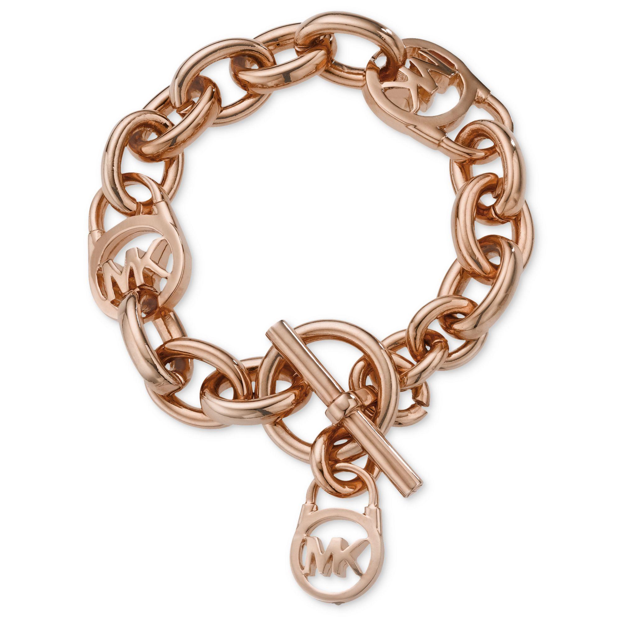 michael kors rose gold tone logo lock toggle bracelet in. Black Bedroom Furniture Sets. Home Design Ideas