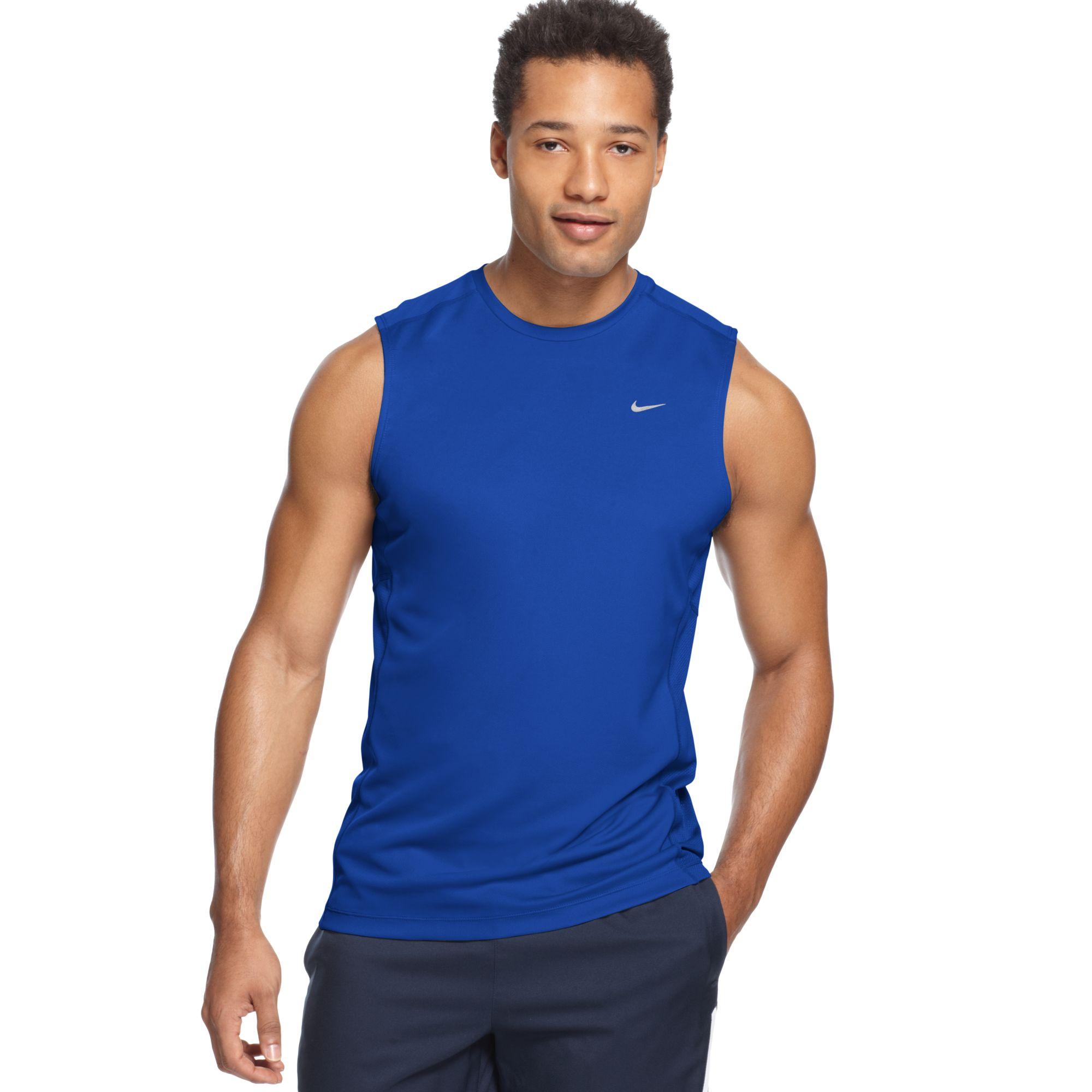 Nike Miler Sleeveless Running T Shirt In Blue For Men