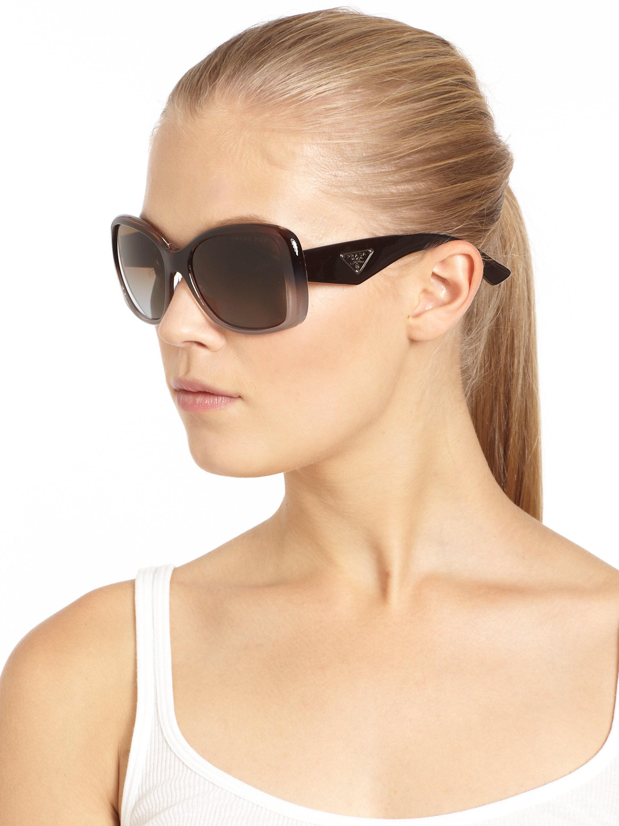 Lyst Prada Oversized Gradient Square Sunglasses In Purple