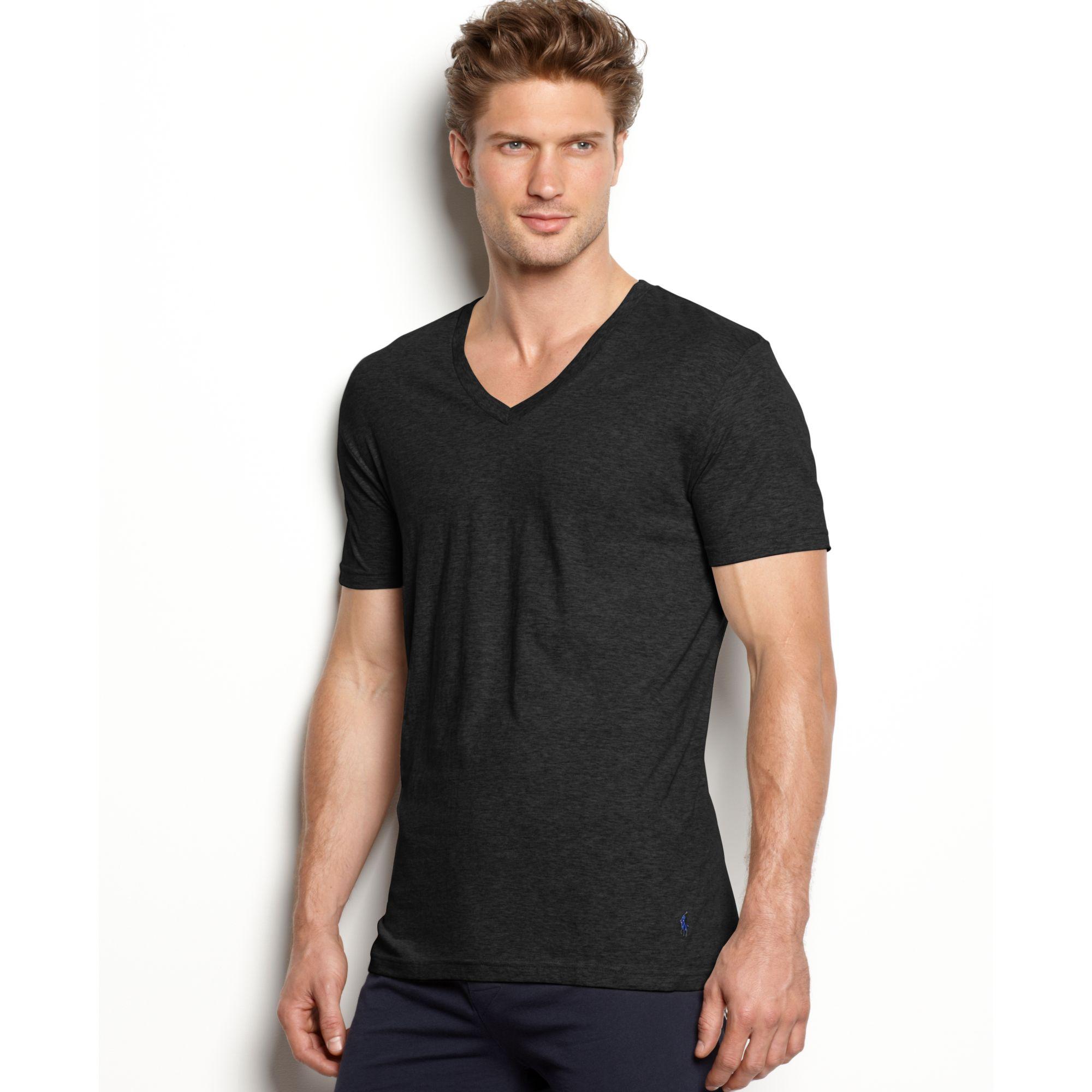 Ralph lauren slim fit stretch v neck t shirt 2 pack in for Slim v neck t shirt