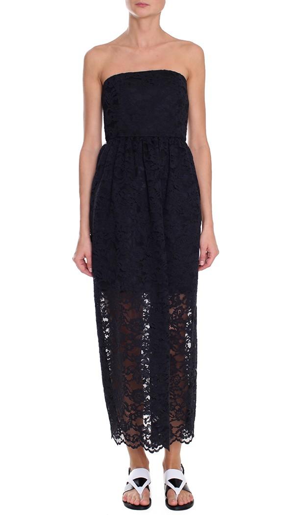 Tibi strapless lace print dress