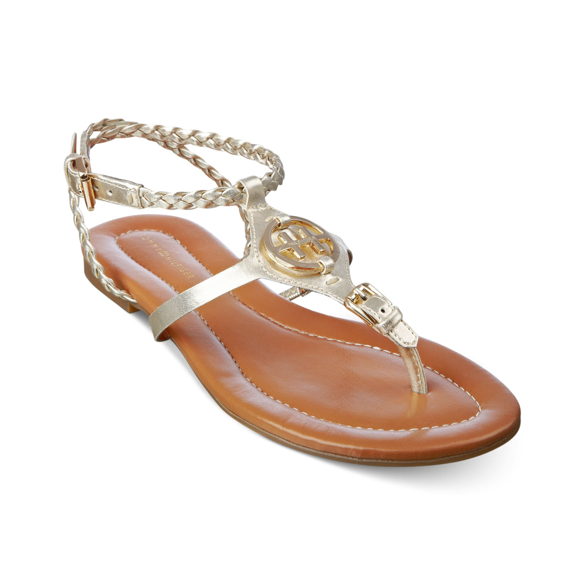 ab7638cfee38e Lyst - Tommy Hilfiger Strom Flat Sandals in Metallic