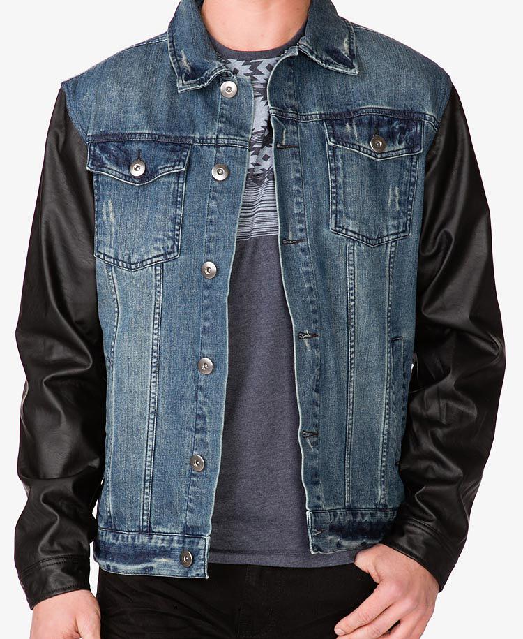 Mens denim jacket black sleeves