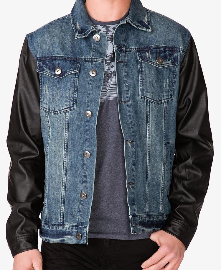 Forever 21 Faux Leather Sleeve Denim Jacket in Denim ...