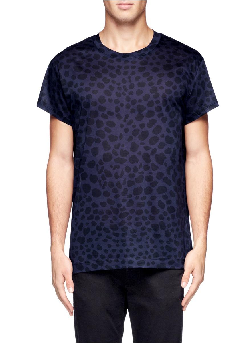 Lyst Acne Studios Leopard Print T Shirt In Blue For Men