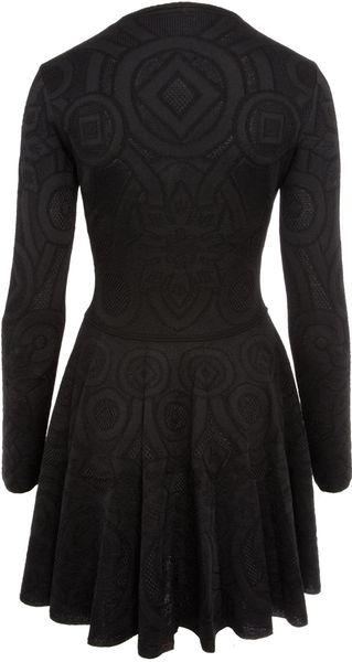 Alexander Mcqueen Black Long Sleeve Lace Knit Dress In