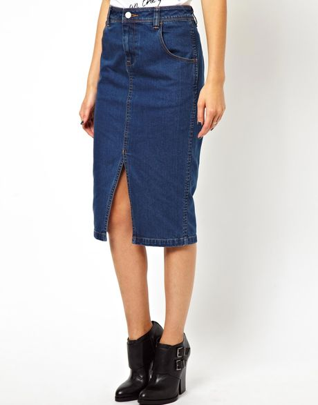 asos denim pencil skirt with split front in blue