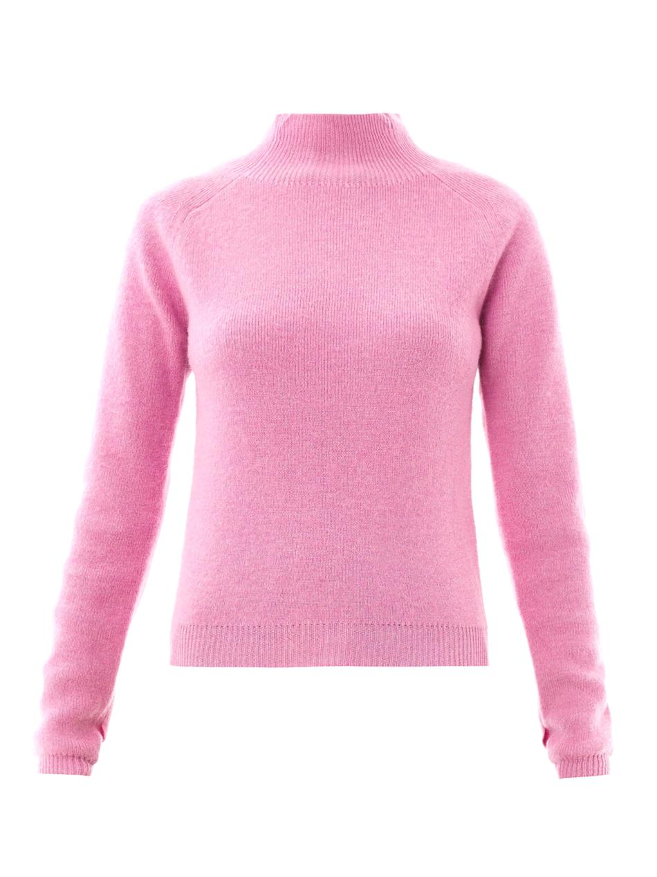Carven Turtleneck Wool Sweater in Pink | Lyst