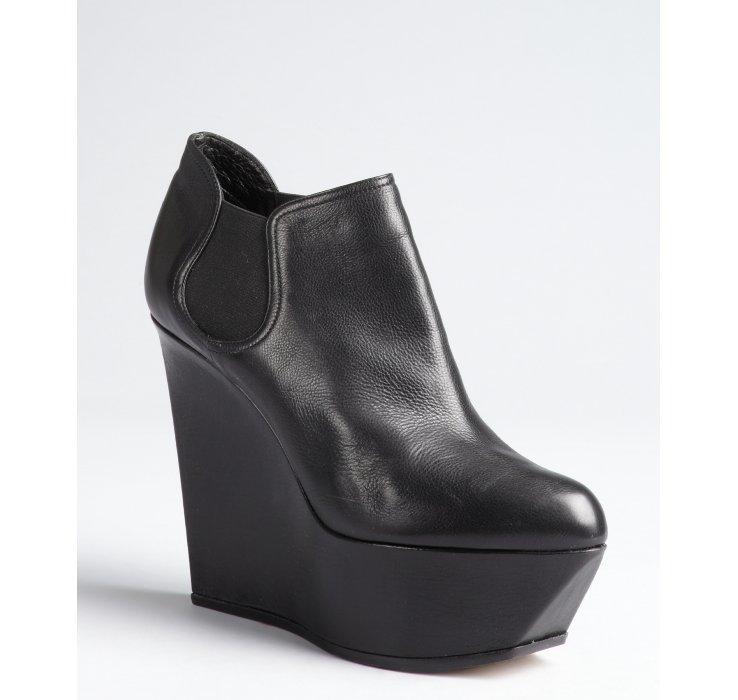 Casadei Black Leather Platform Wedge Chelsea Ankle Boots in Black ...
