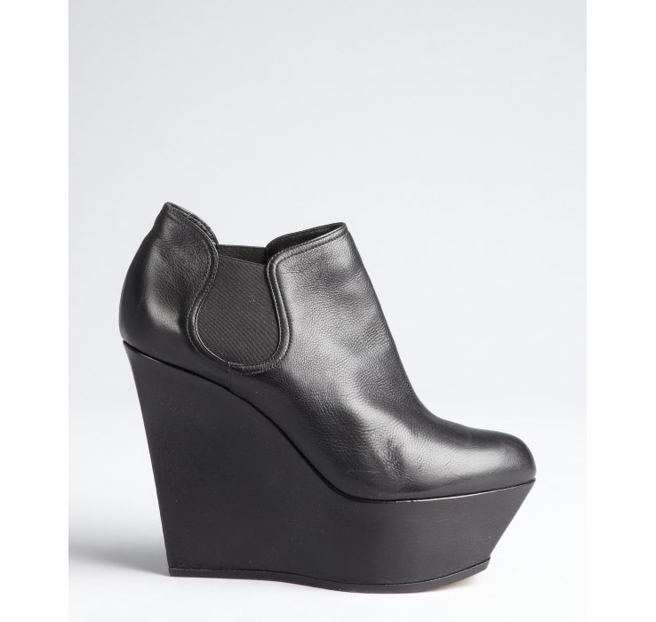 b199bdb3bb5 Casadei Black Leather Platform Wedge Chelsea Ankle Boots in Black .