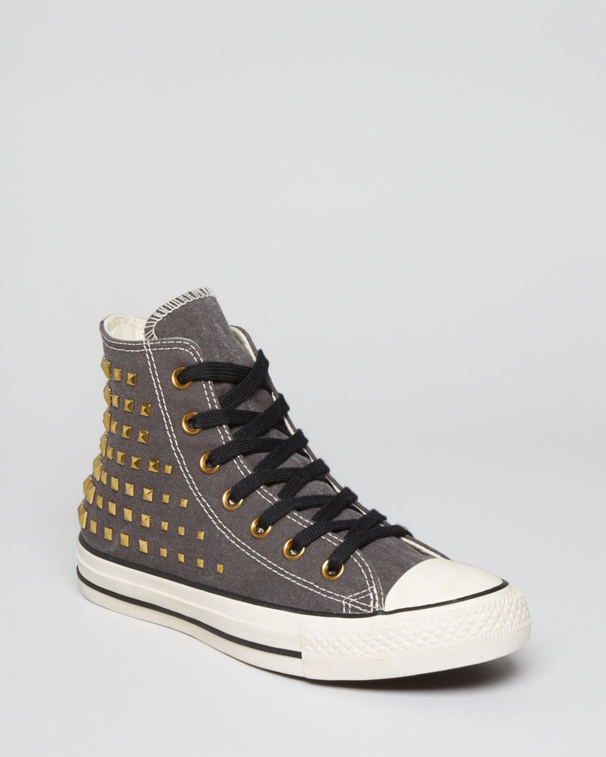 Converse lace up high top sneakers all star collar studs - Graue converse ...