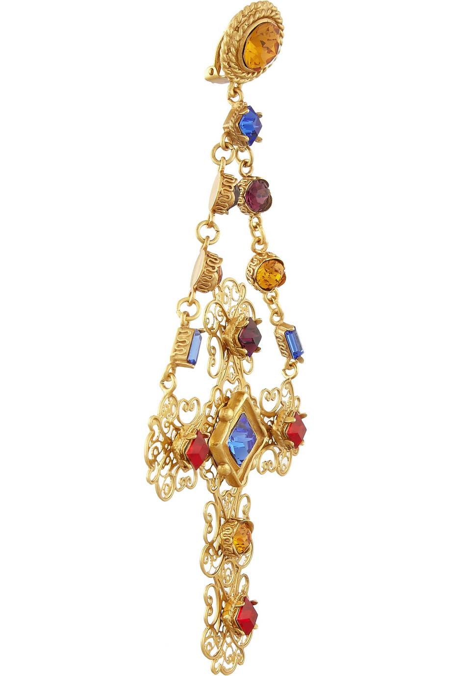 d50558efc Dolce & Gabbana Gemme Gold Plated Swarovski Crystal Cross Clip Earrings in  Metallic - Lyst