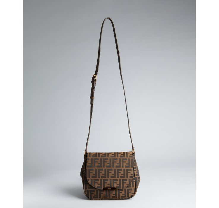 ... purchase lyst fendi tobacco and brown zucca canvas crossbody bag in  brown f9a43 bec3f 7af298faae5b7