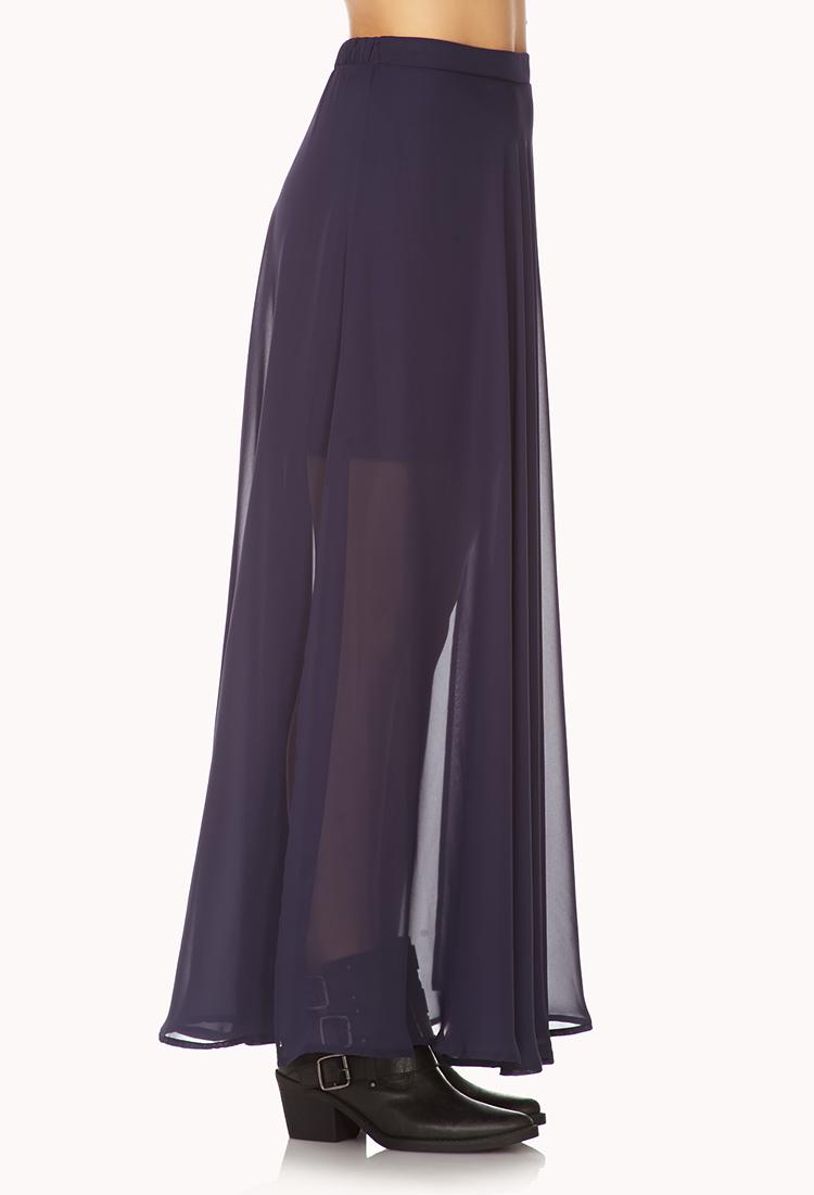 Forever 21 Slit Chiffon Maxi Skirt in Blue | Lyst