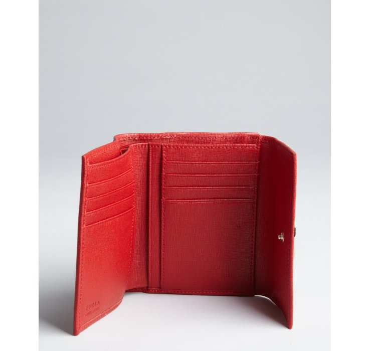 Furla Red Saffiano Leather May Classic M Trifold Wallet In