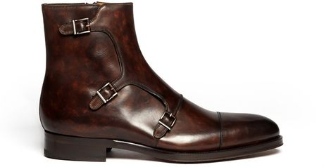 Magnanni Leather Monk Strap Buckle Boots In Brown For Men