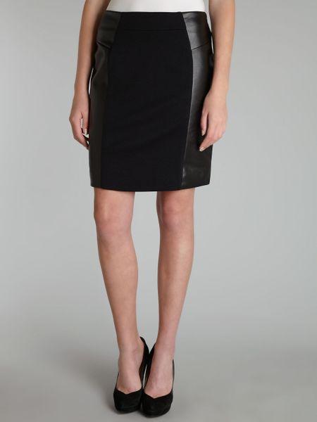 michael kors leather panel pencil skirt in black lyst