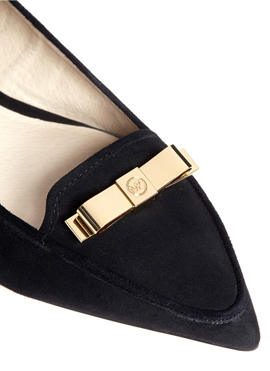 c59c278be868 Lyst - Michael Kors Vivienne Bow Pointed Flats in Black