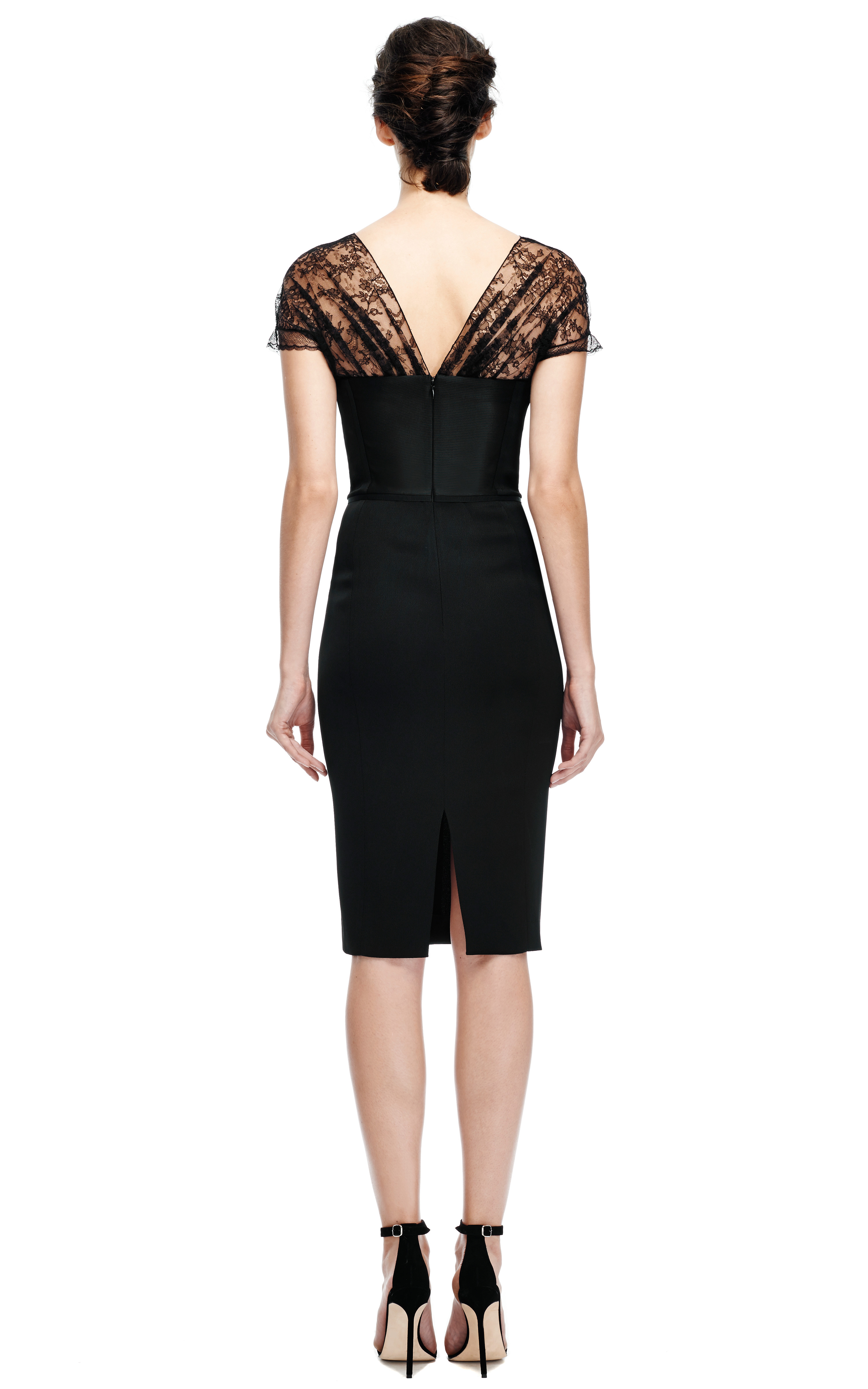 Lyst Nina Ricci Fitted Pencil Dress With Lace Neckline
