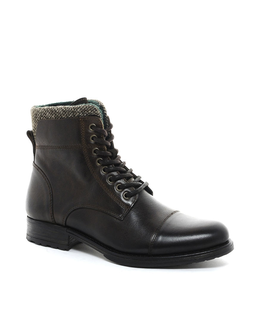 aldo timo leather boots in brown for lyst