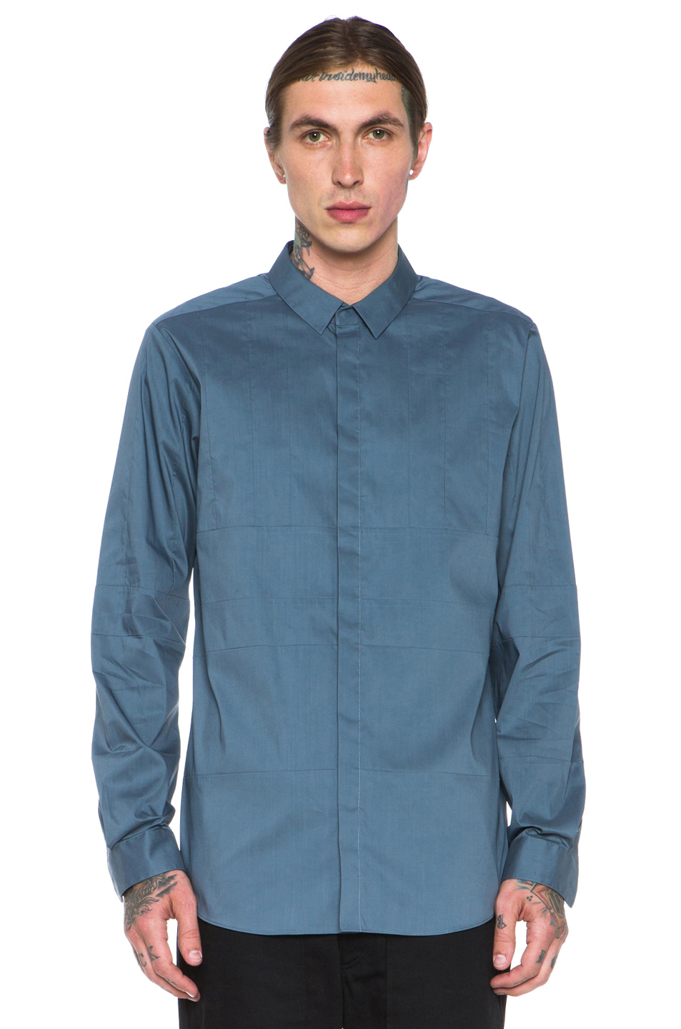 Alexander wang hidden snap closure multi seam collar shirt for Mens shirts with snaps instead of buttons