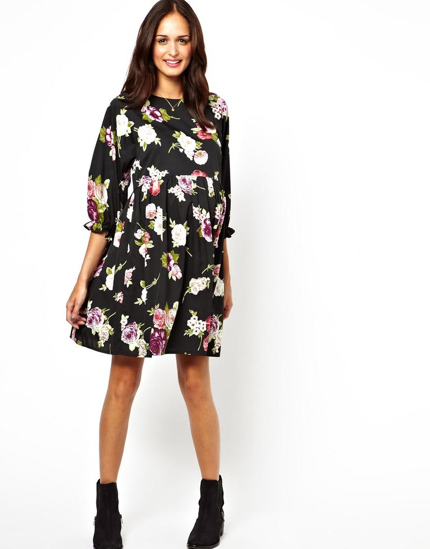 Lipsy Asos Maternity Smock Dress in Winter Floral in Black ...