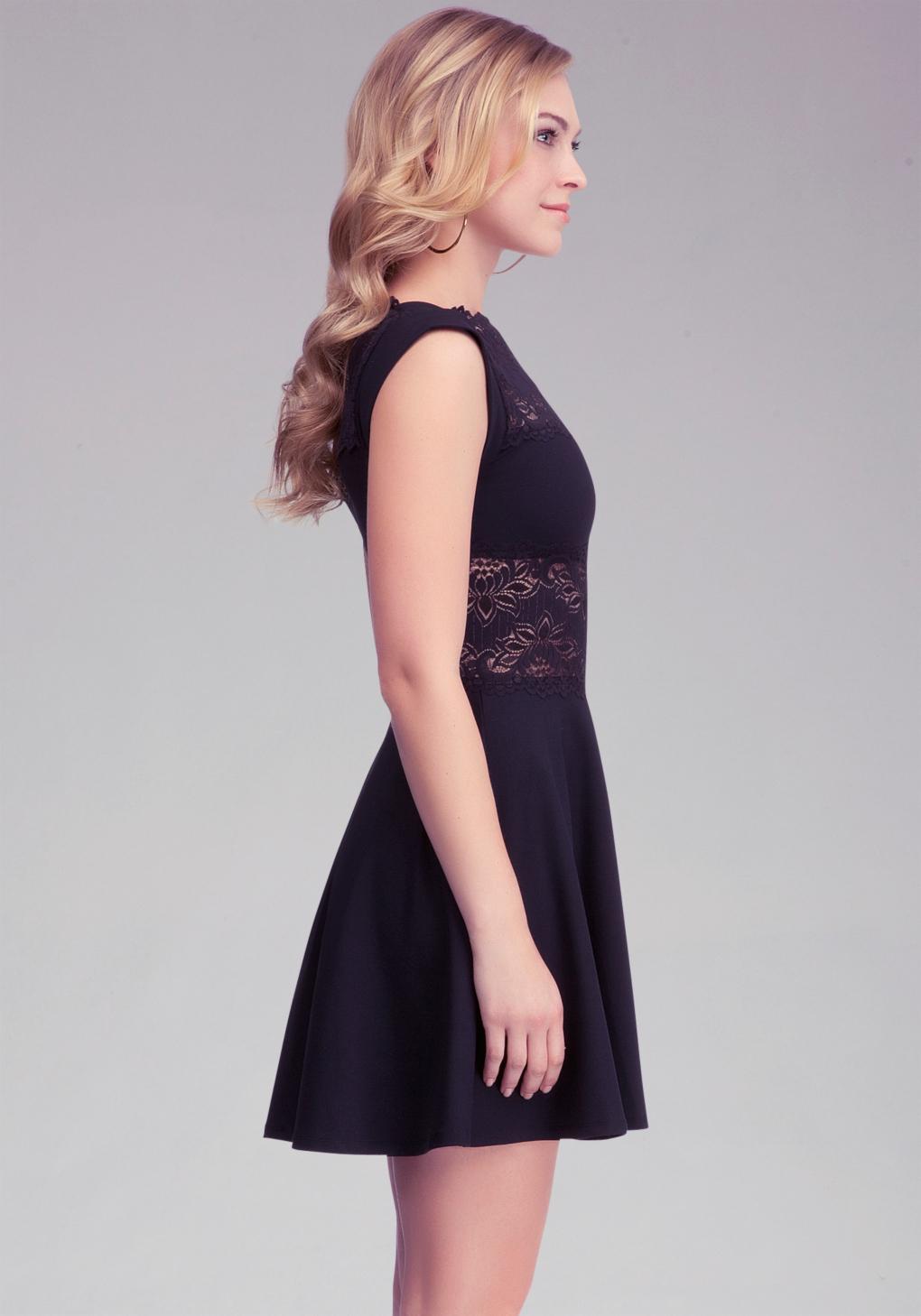 Lyst Bebe Lace Panel Midriff Dress In Black