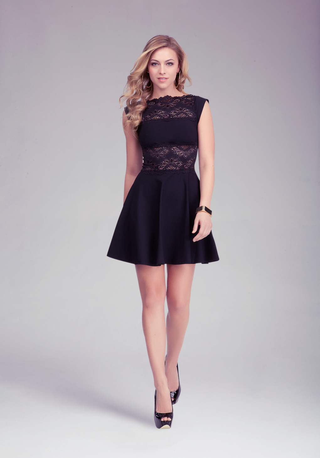 Lyst Bebe Lace Panel Midriff Dress In Black