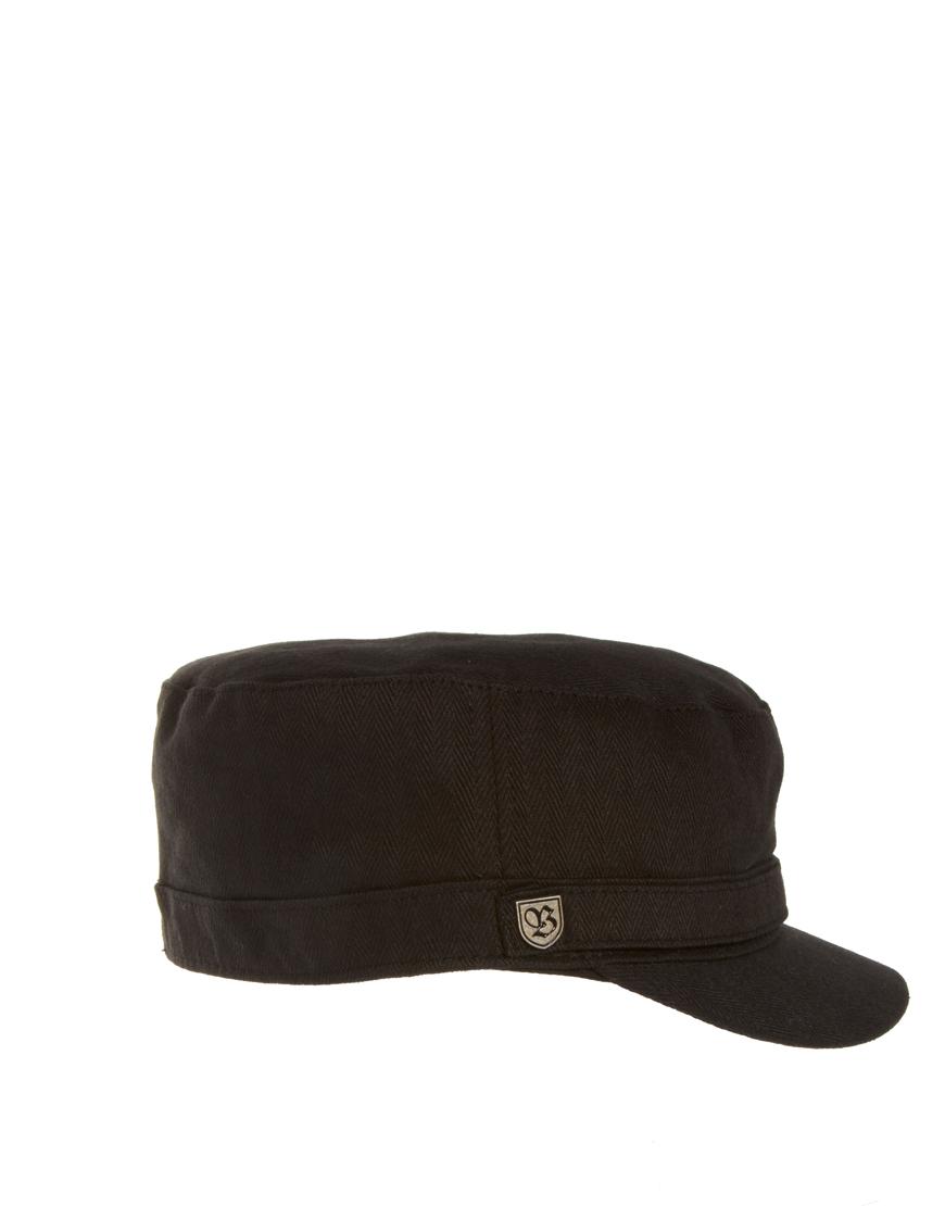 5945170e ... good lyst asos brixton busker military cap in black for men c0588 55d78