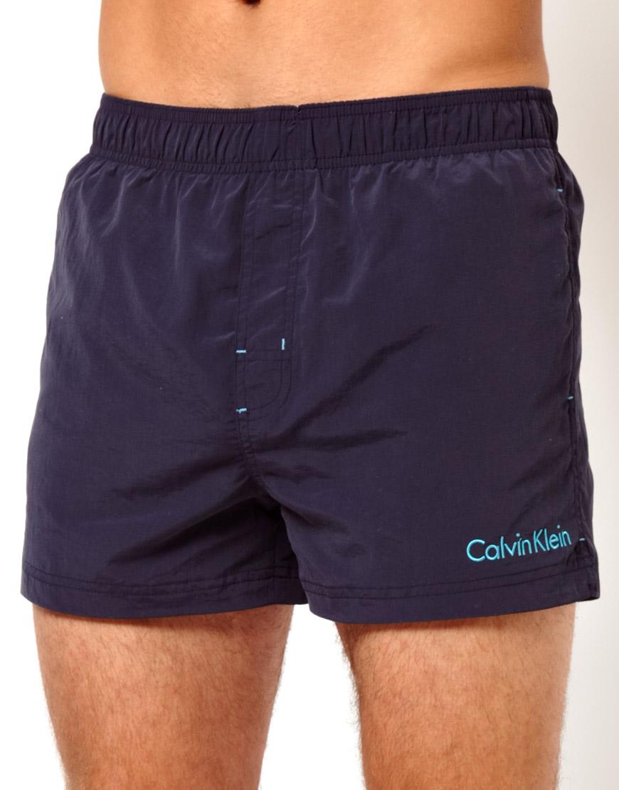 Calvin klein swim shorts in blue for men navy lyst - Swimmingpool klein ...