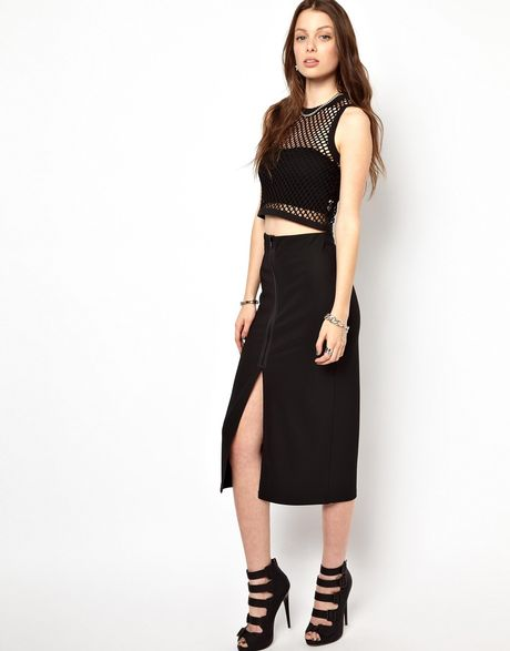 cheap monday midi pencil skirt in black lyst