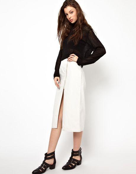 cheap monday zipped pencil skirt in black dustwhite lyst