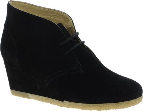 clarks yarra wedge black boots in black lyst