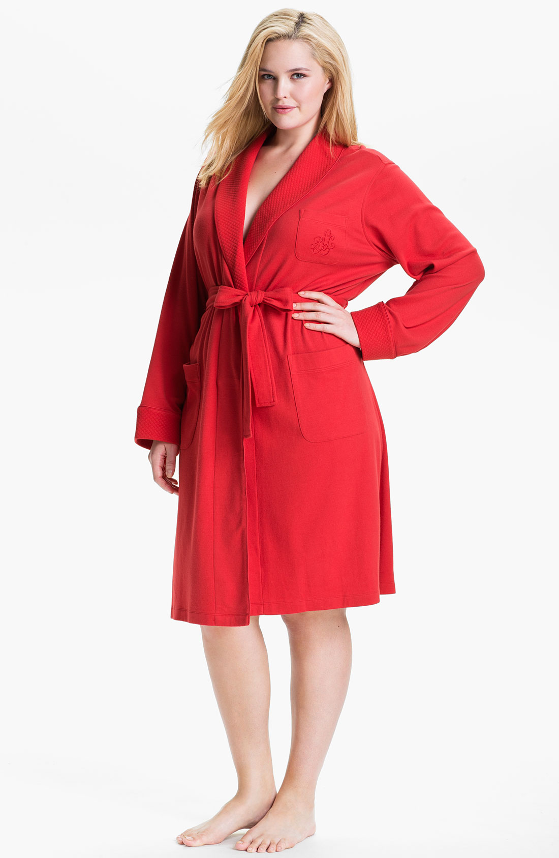 lauren by ralph lauren sleepwear shawl collar robe in red holiday red lyst. Black Bedroom Furniture Sets. Home Design Ideas