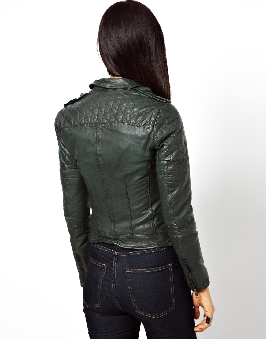 Muubaa Nido Goats Leather Jacket With Quilted Shoulders In Green Lyst