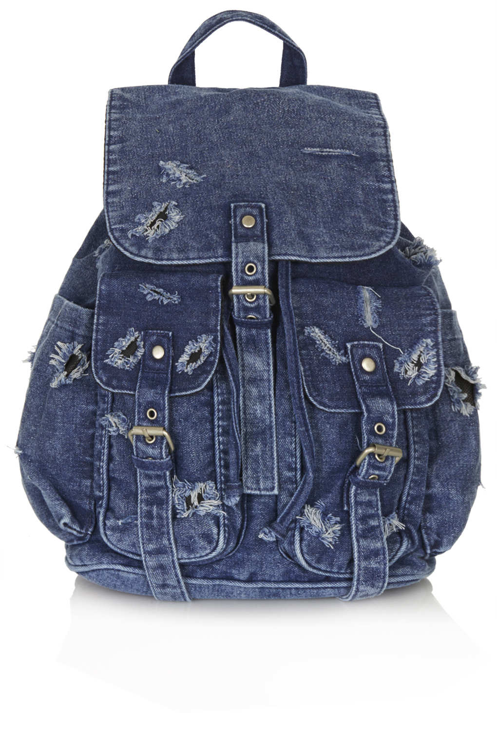 Topshop Ripped Denim Backpack In Blue Lyst