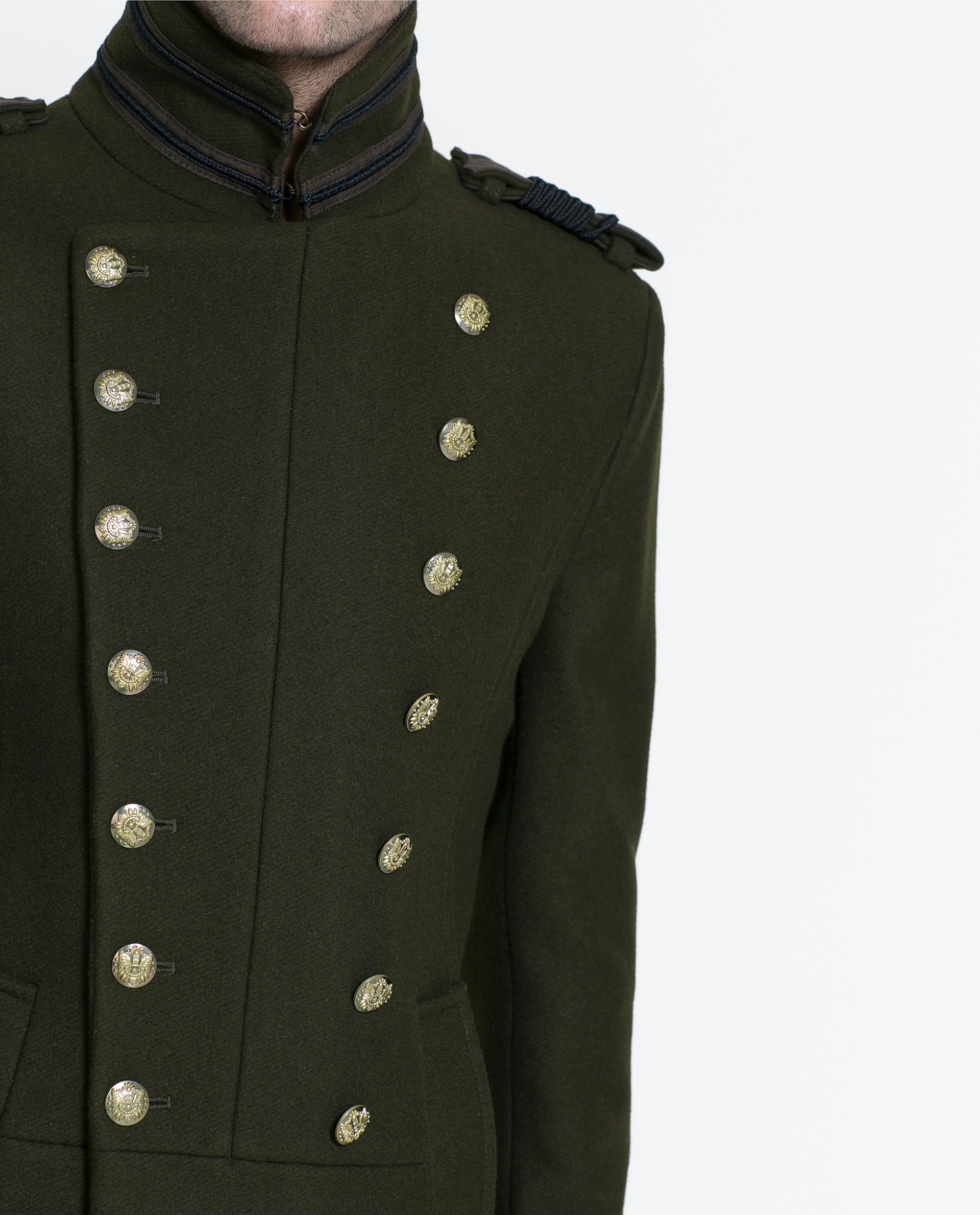 Zara Military Style Coat in Green for Men | Lyst