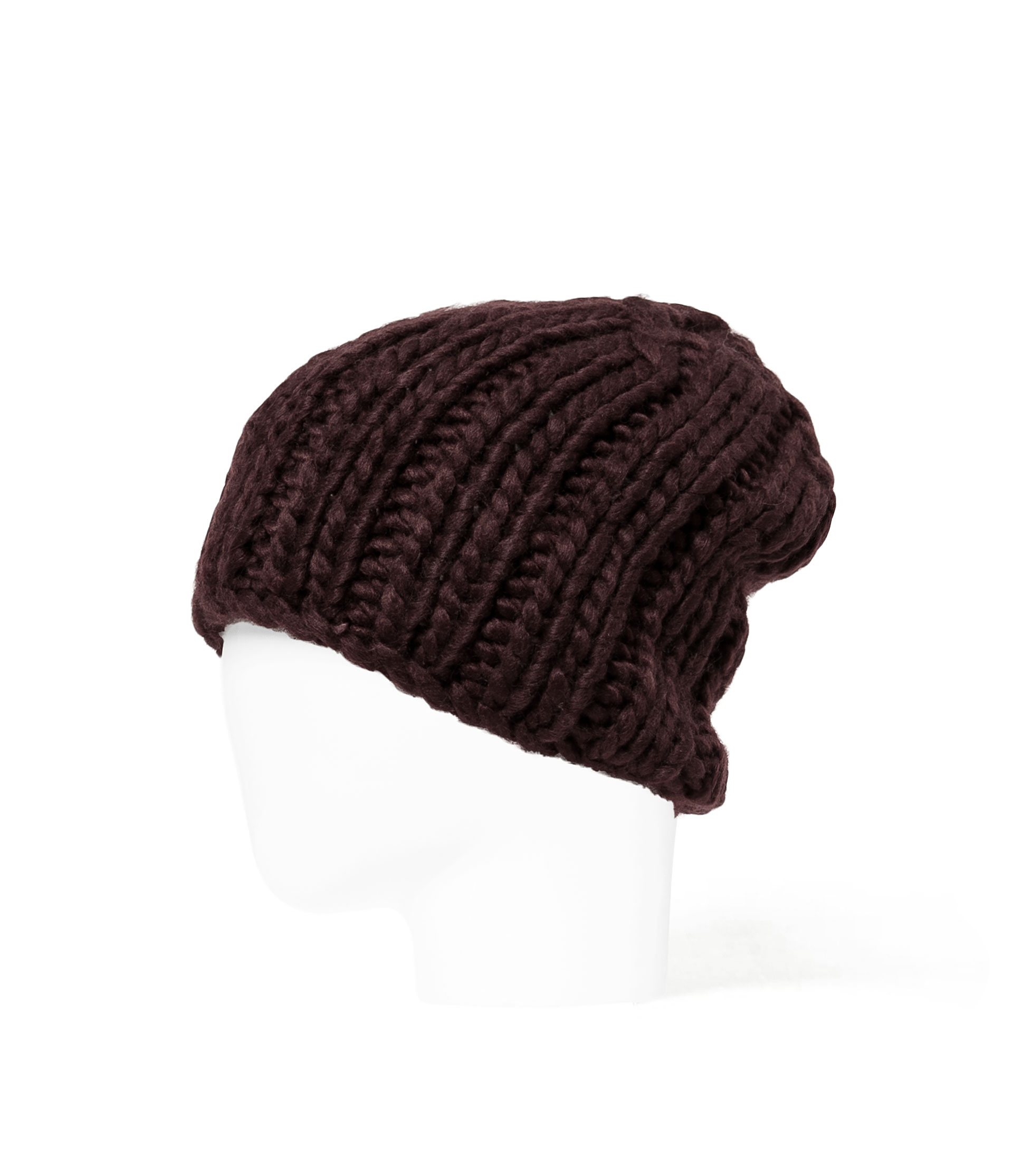 Knitting Chunky Hat : Zara chunky knit beanie hat in brown for men maroon lyst