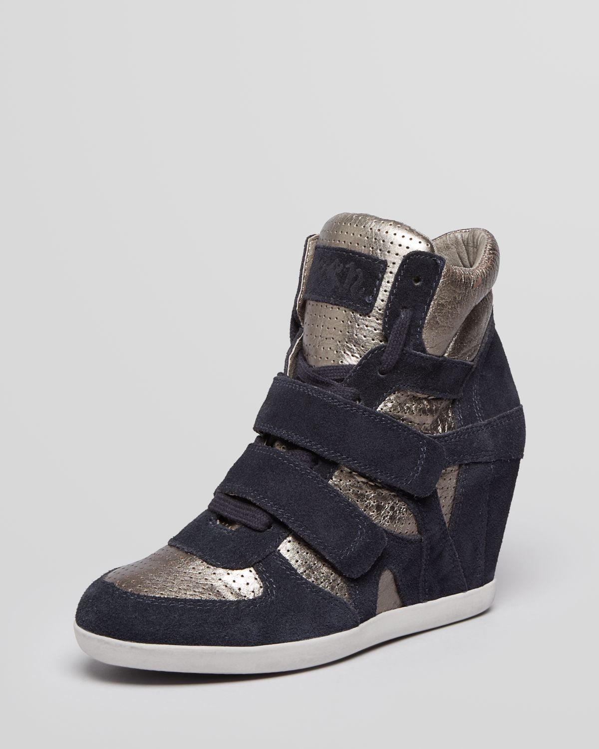 ash high top wedge sneakers bea in gold midnight piombo lyst. Black Bedroom Furniture Sets. Home Design Ideas