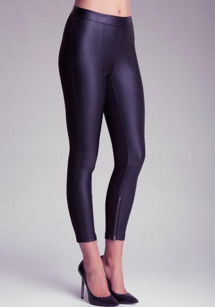 Bebe Side Zip Panel Leggings In Black Lyst