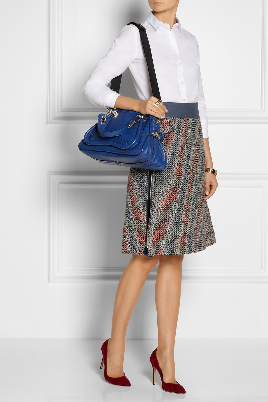 Chlo¨¦ The Paraty Military Medium Leather Shoulder Bag in Blue | Lyst