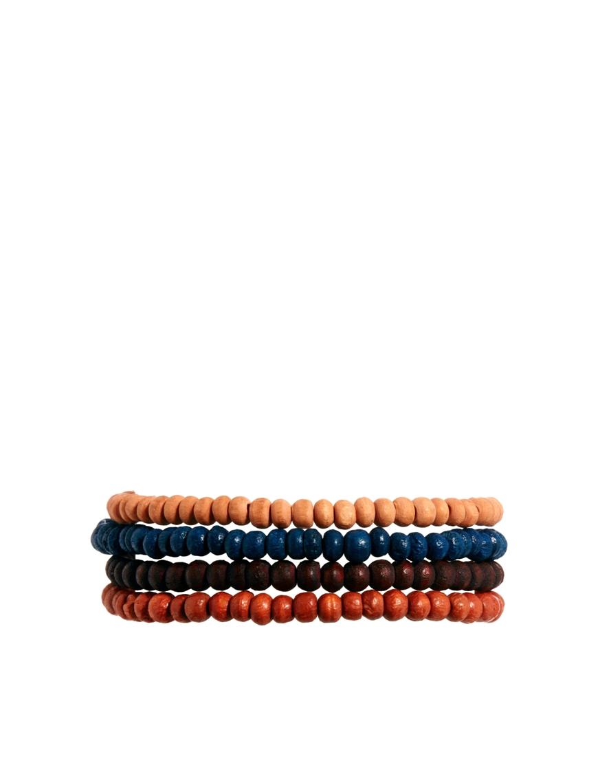asos classics 77 beaded bracelet pack in orange for lyst