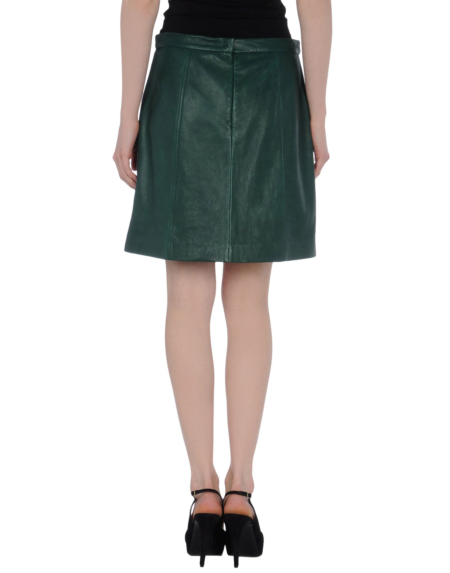 dkny leather skirt in green lyst