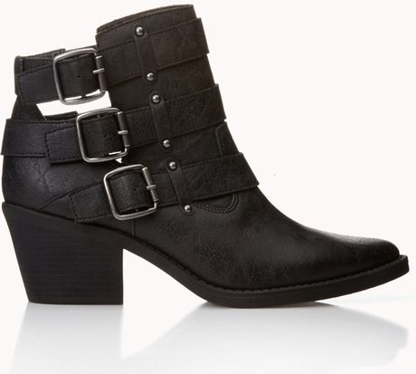 Forever 21 Bikerchic Cutout Booties in Black
