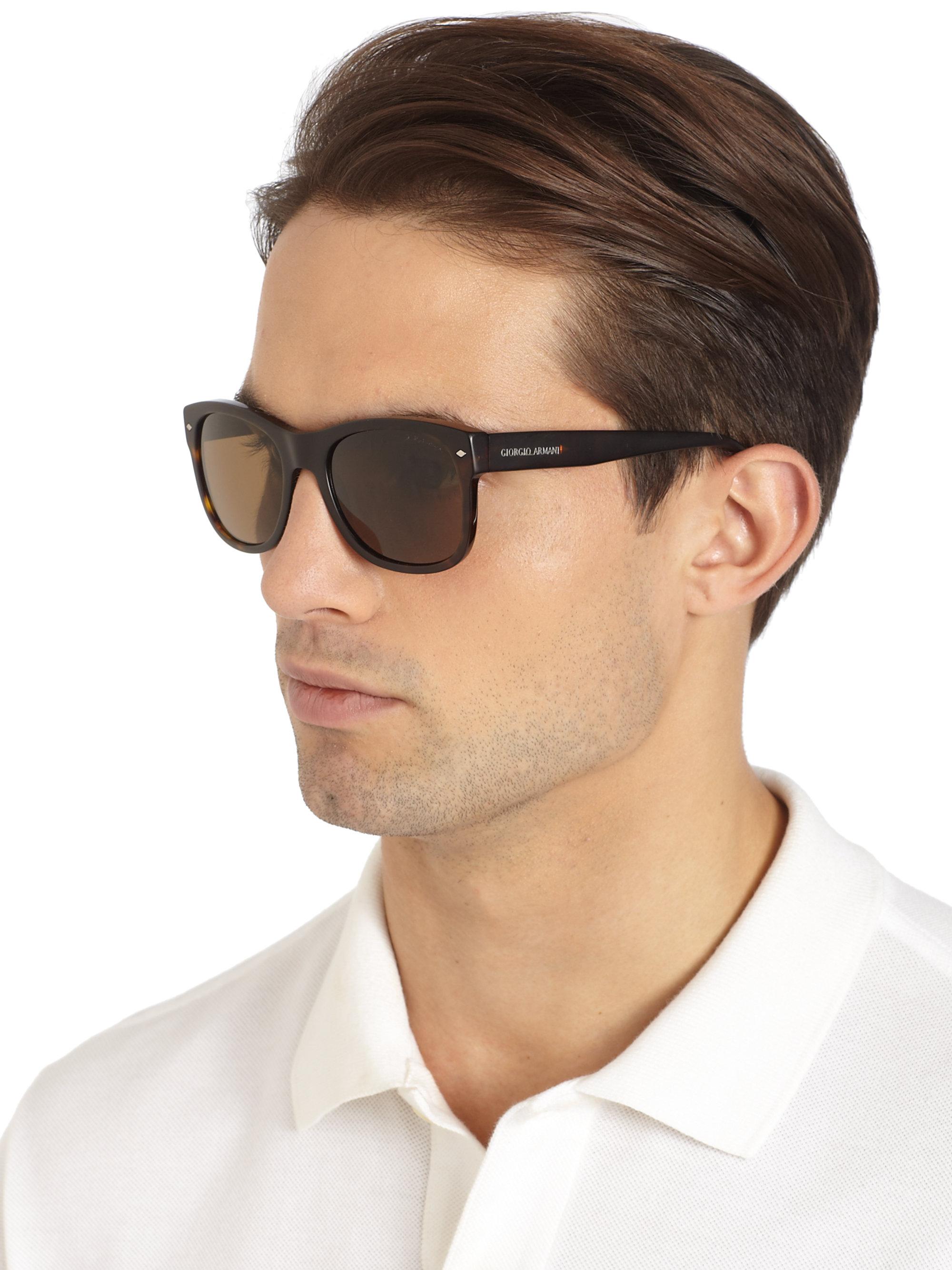 0750ece8935 Lyst - Giorgio Armani Square Acetate Sunglasses in Brown for Men
